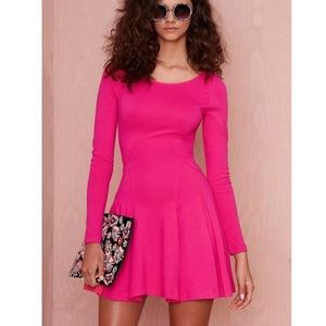 Nasty Gal Pink Fit Flare Long Sleeve Dress